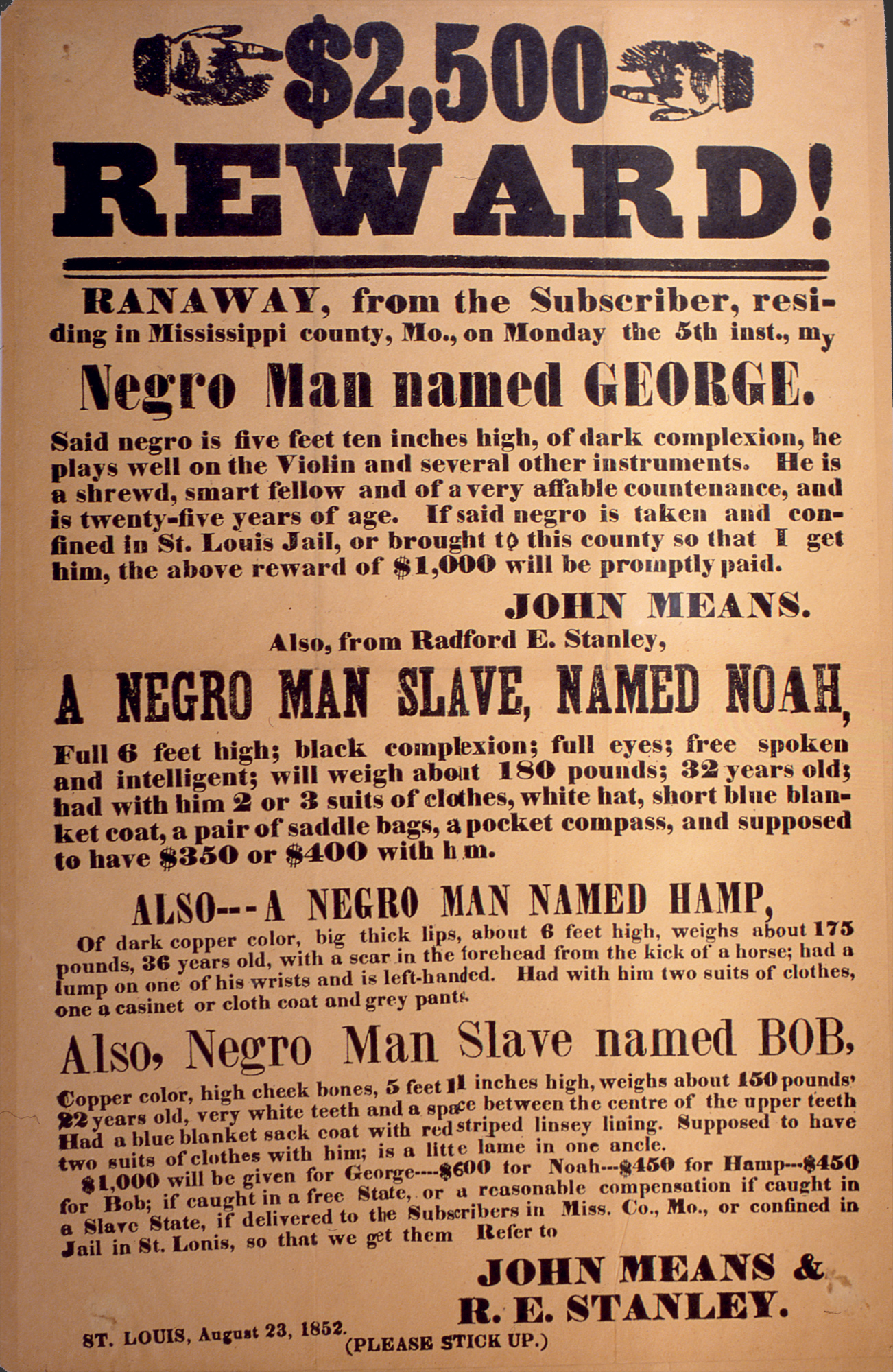 Runaway Slave Reward Poster, 1852  Missing Reward Poster Template