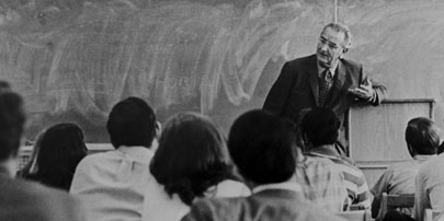 Lyndon Johnson in the classroom during an April 1970 visit to his alma mater. Photo courtesy Texas State University-San Marcos.