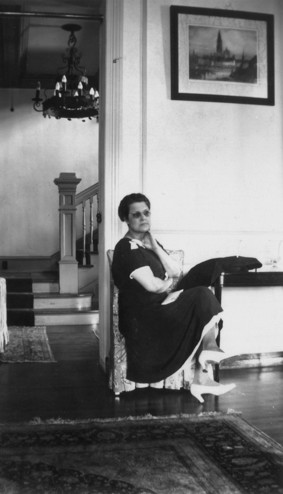 <em>Laura Reed in the music room of the Byrne-Reed House. Courtesy of the Reed family.</em>