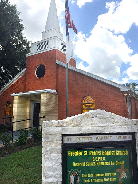 Greater St. Peter's Missionary Baptist Church in Hempstead. The church's  minister, the Reverend Fred Thomas III, is one of the community members  featured in ...