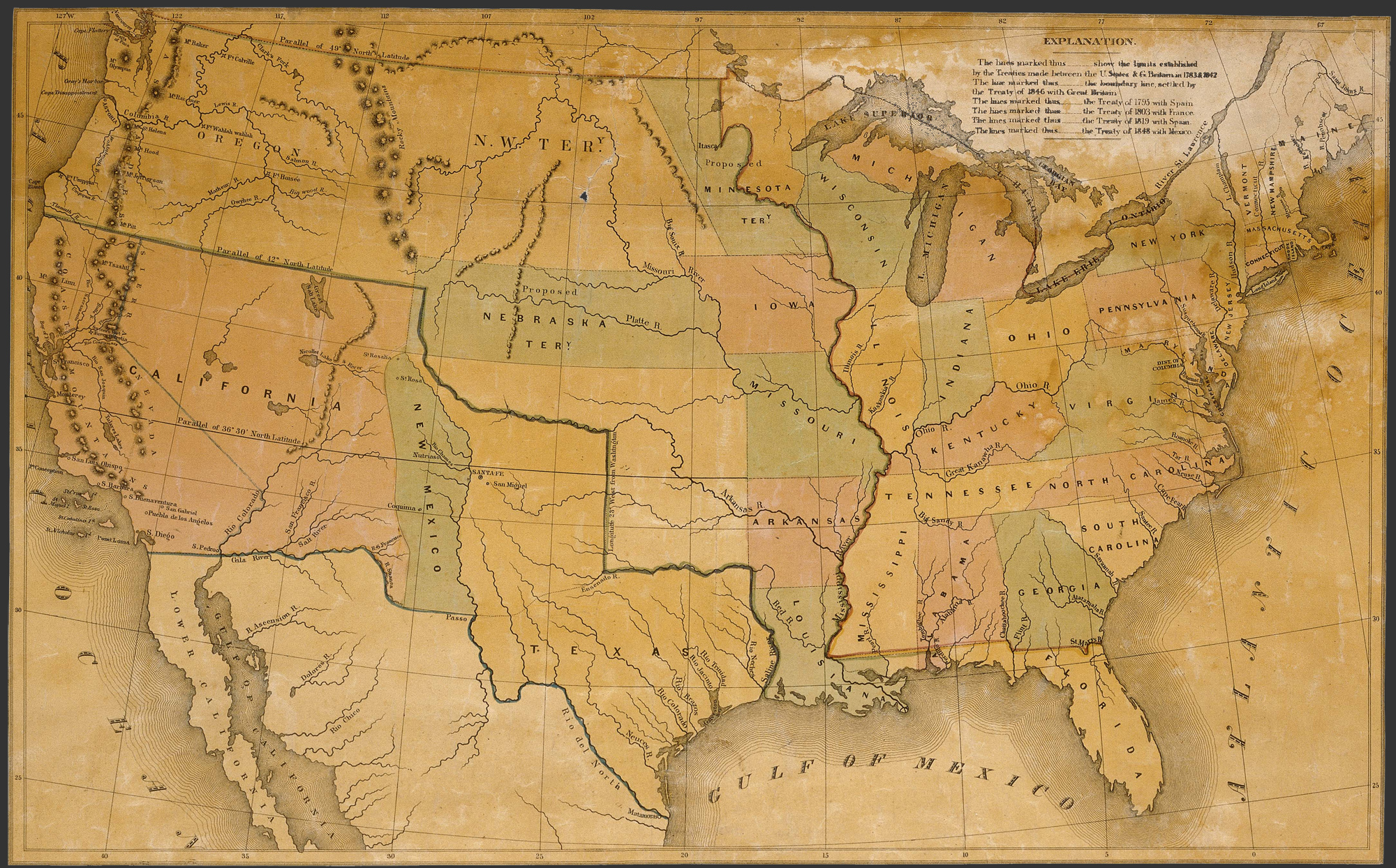 Map of the United States, 1848