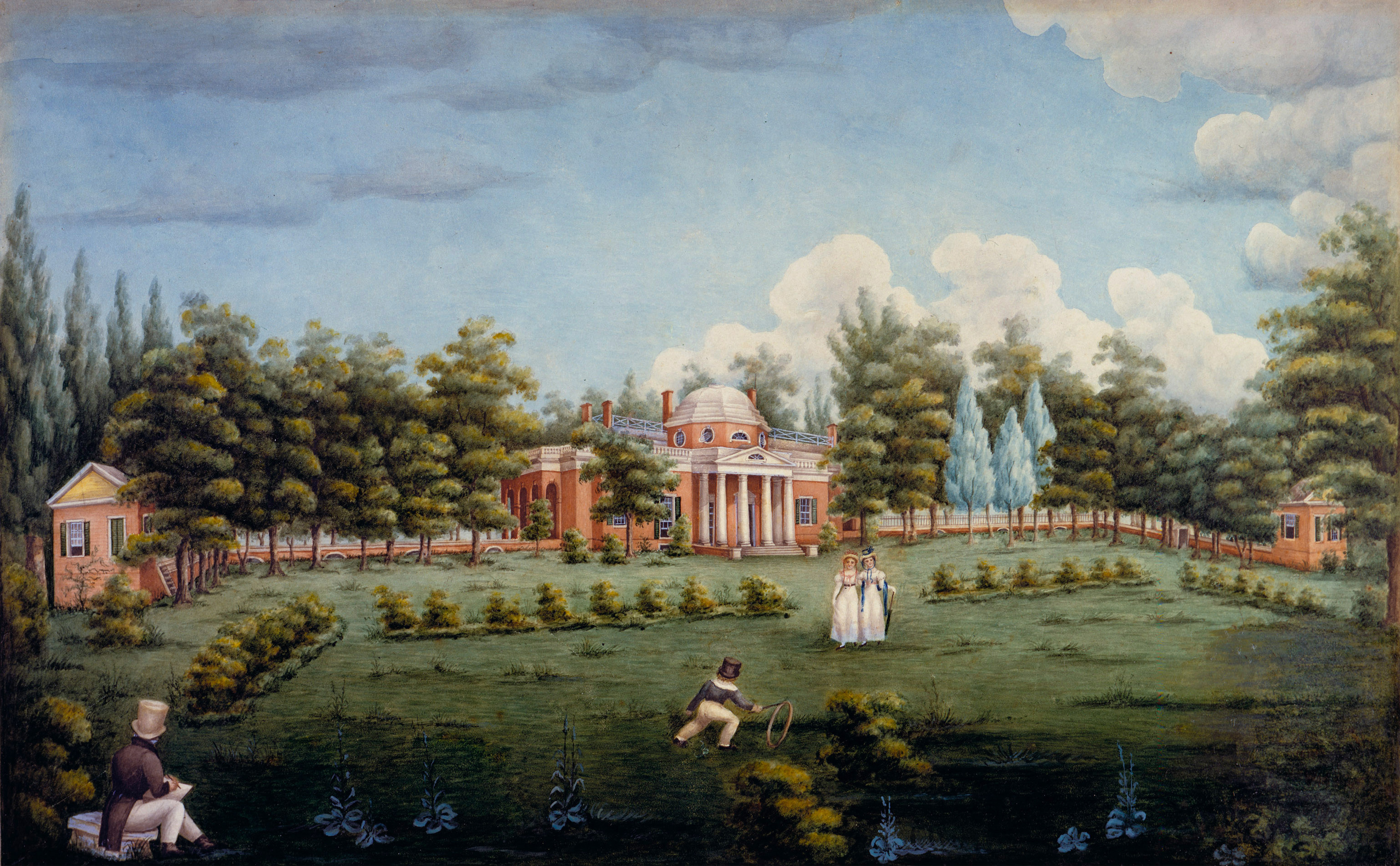 Peticolas, View of the West Front of Monticello and Garden, 1825