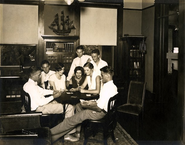 <em>Ruth Reed, right, with friends in the sitting room of the Byrne-Reed House. Courtesy of the Reed family.</em>