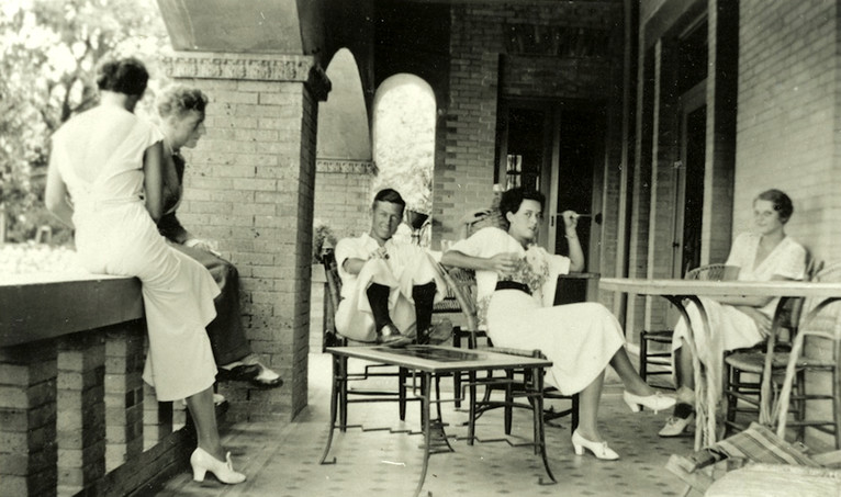 <em>Richard Dyke, left, Jack Wilder, Virginia Wilder, and Ruth Reed with unidentified friend on the south porch of the Byrne-Reed house circa 1930. Courtesy of the Reed family.</em>