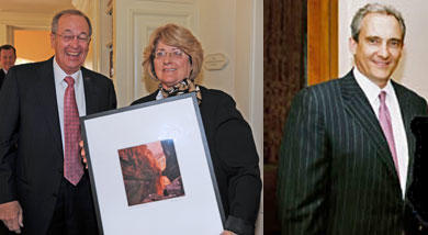 Left: Julius Glickman presents Linda Valdez with a Bill Wright photograph. Right: Robert Kruckemeyer.
