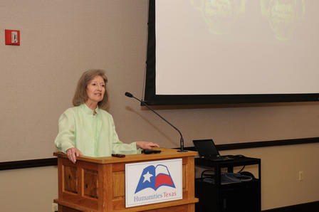 Mary Volcansek gives a lecture in Fort Worth