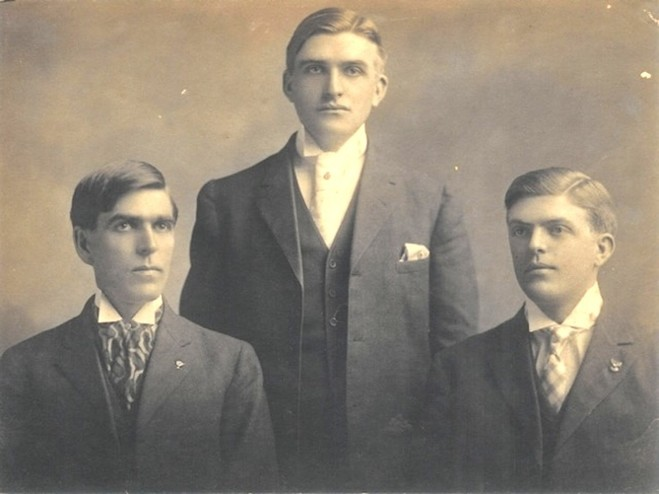 <em>Portrait of the Reed brothers with David on the right, Thomas in the middle, and Malcolm on the left. Courtesy of the Reed Family.</em>